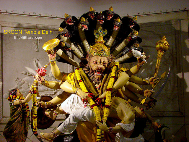 On Narasimha Chaturdashi Lord Vishnu appeared as Lord Narasimha in the form of a half lion and half man, to save His Bhakt Prahlad.
